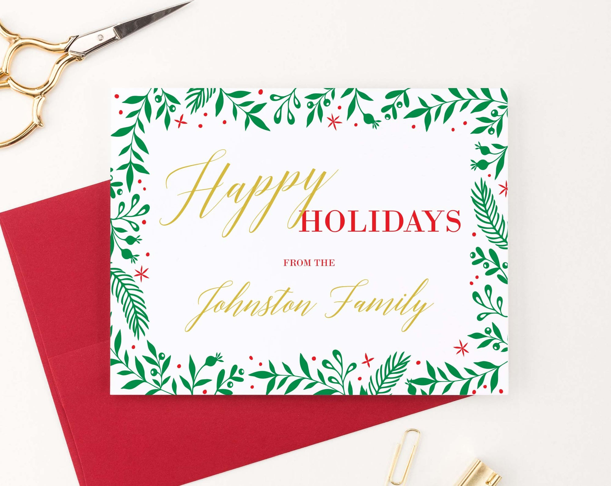HGC005 red and gold personalizd christmas cards with holly border simple elegant