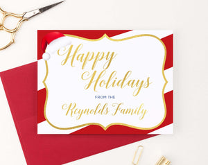 HGC006 personalized holiday cards with candy cane striped border gold modern 2