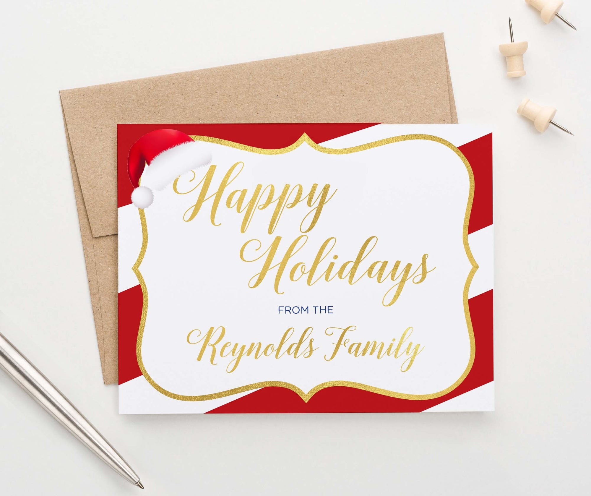HGC006 personalized holiday cards with candy cane striped border gold modern