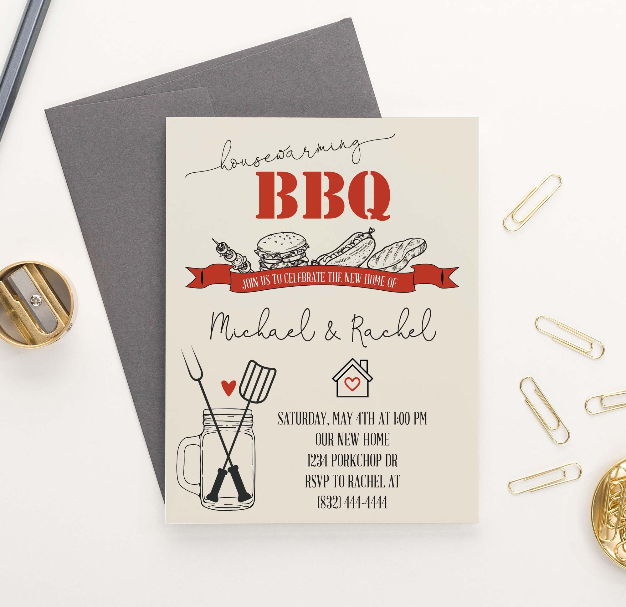 HPI003 Bbq housewarming party invite personalized grill backyard rustic