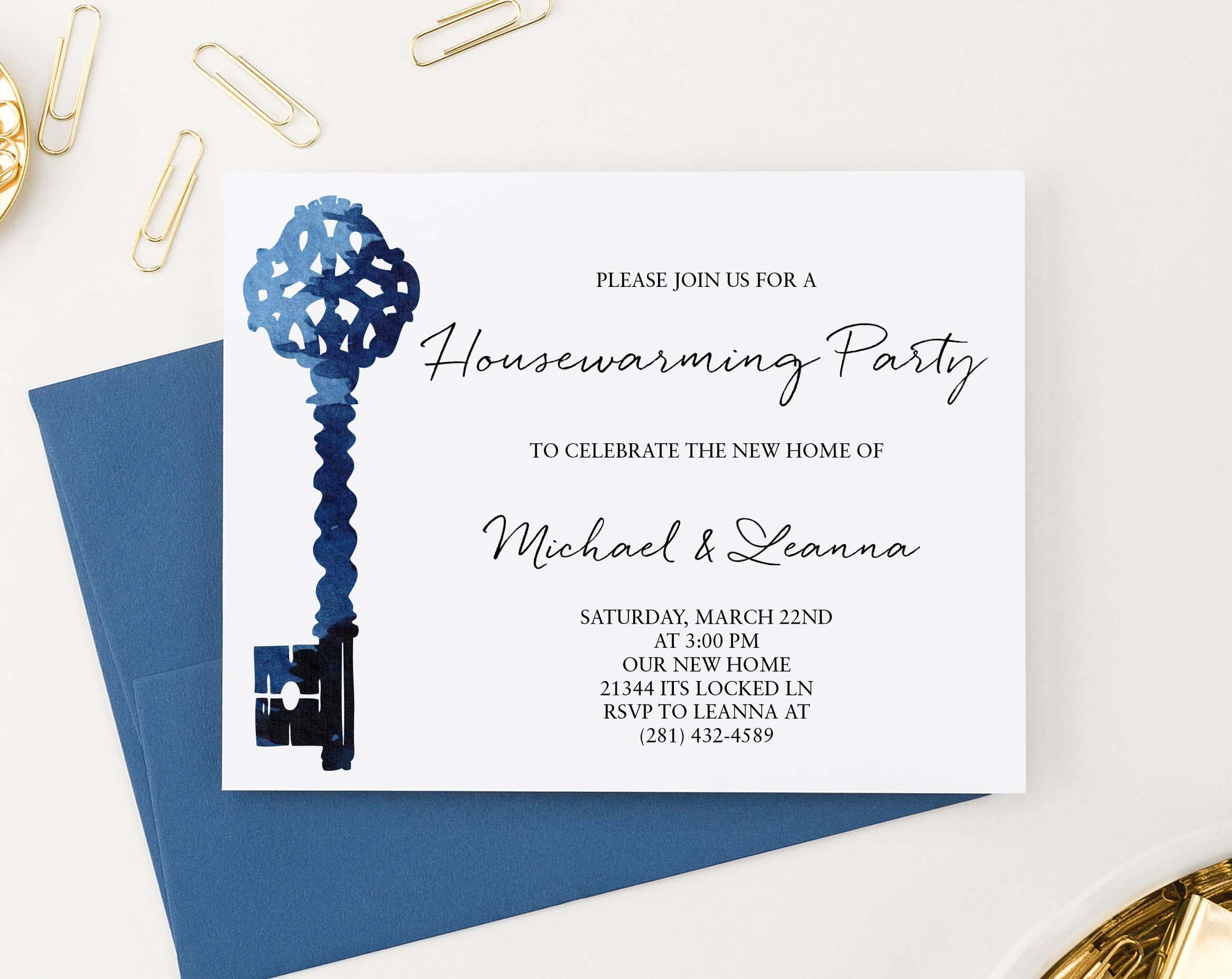 HPI016 blue watercolor key housewarming party invitation antique elegant
