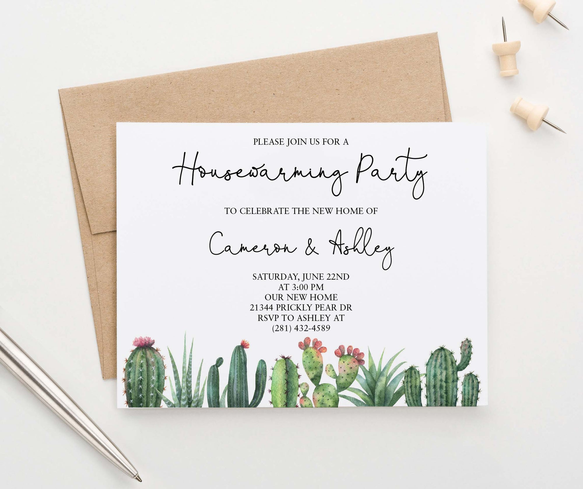 HPI017 personalized elegant housewarming party with cactus succulents greenery