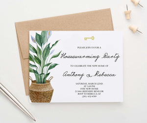 HPI020 personalized housewarming party invites with potted plant greenery key