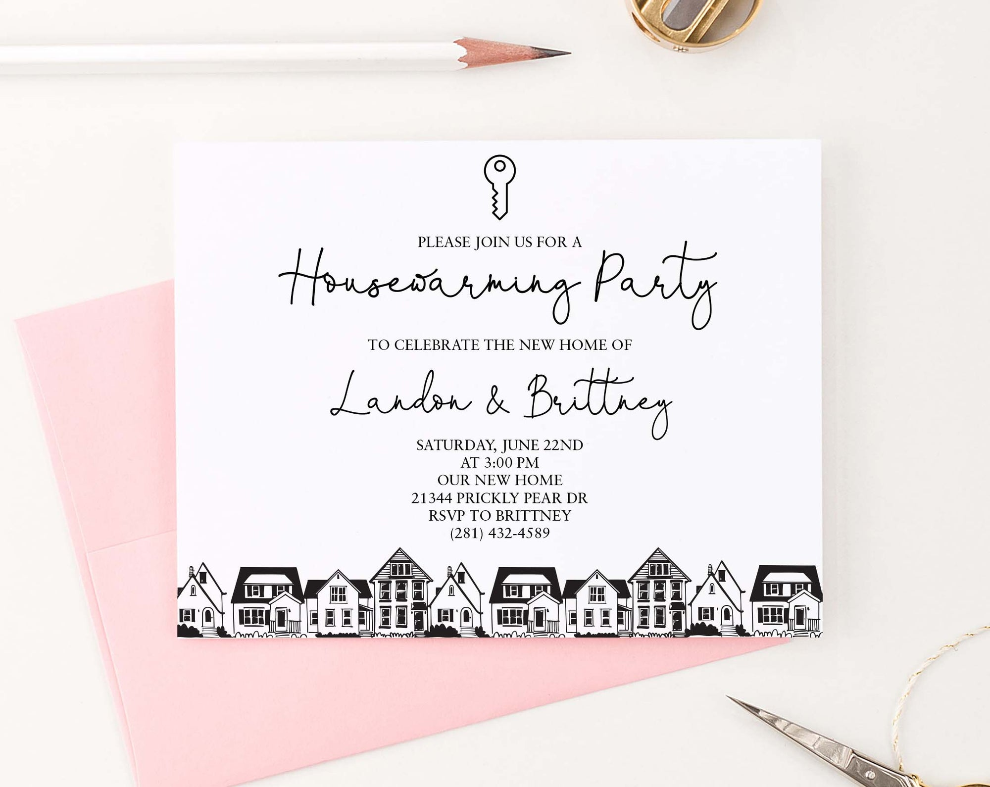 HPI021 personalized housewarming party invite with silhouette houses modern classic 1