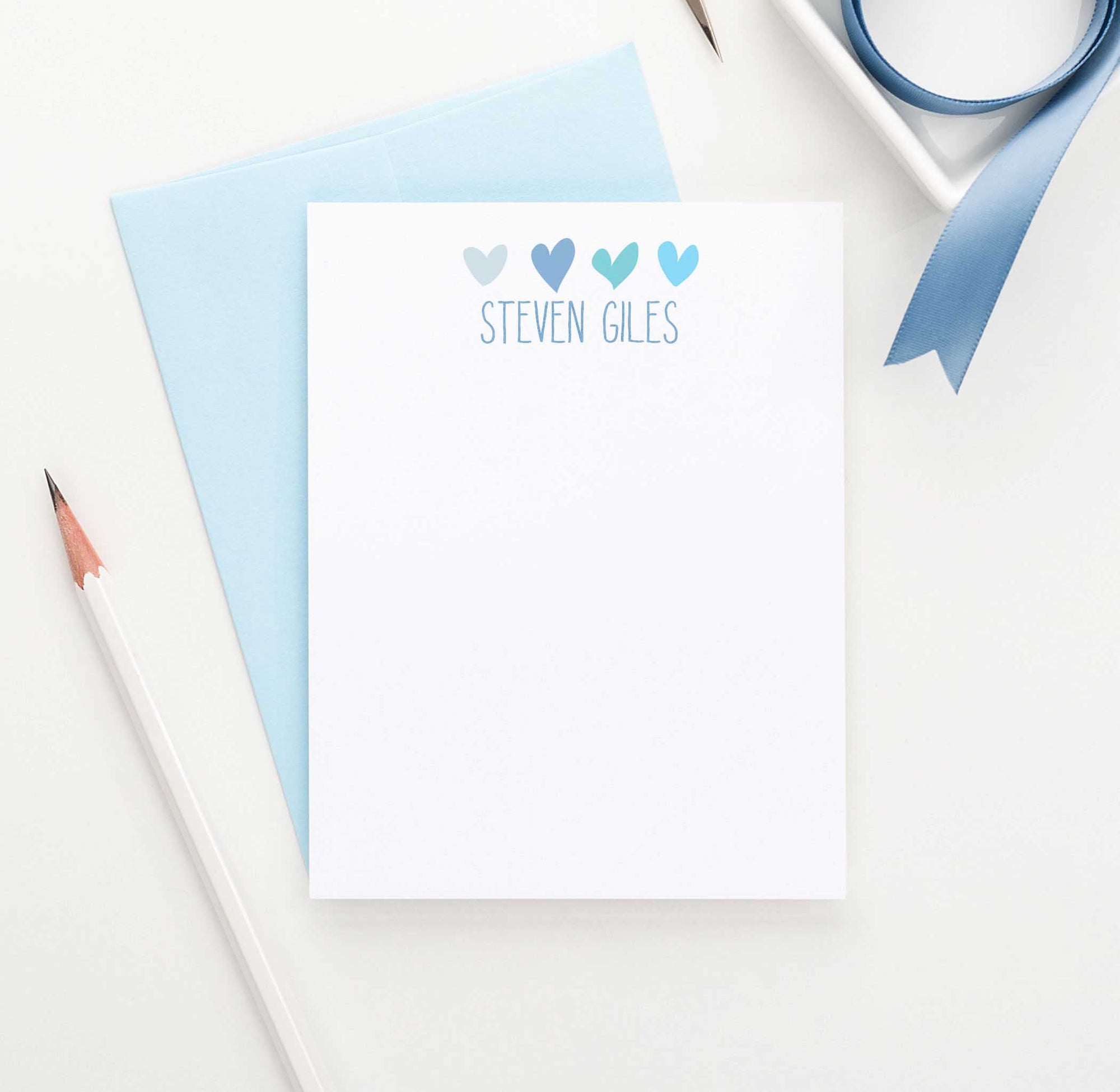 KS003 personalized boys stationary with hearts kids girls fun heart
