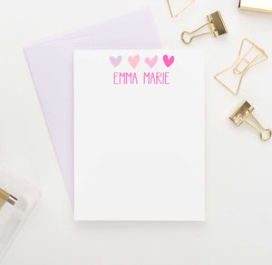 KS008 personalized hearts kid stationary note cards set heart cute simple 1