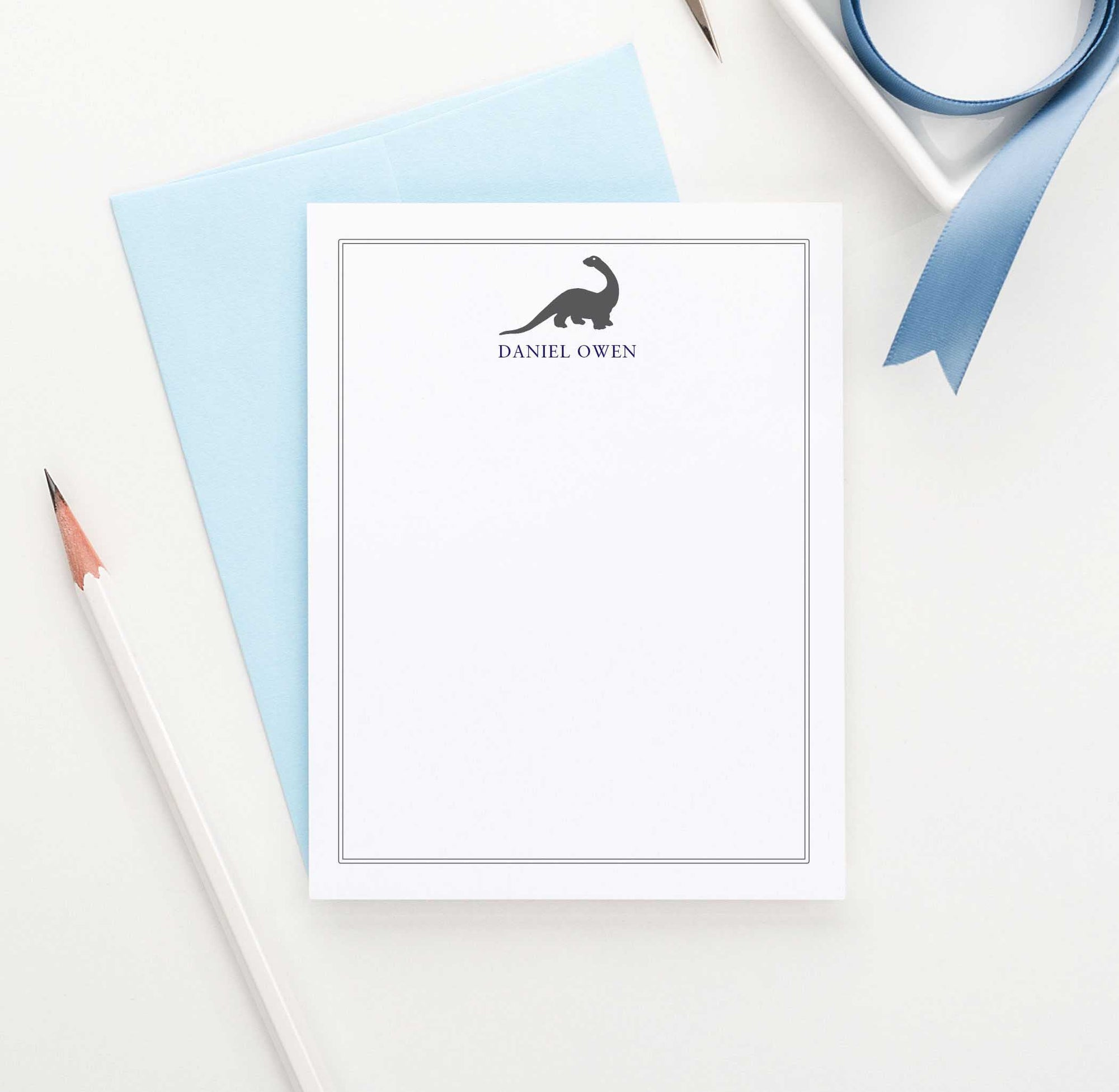 KS010 brontosaurus dinosaur stationery set personalized animal dino dinosaurs 1