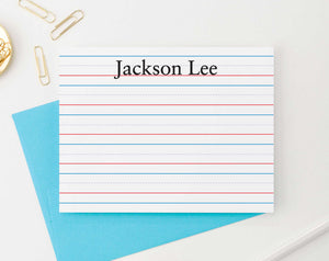KS011 lined personal stationery for kids personalized notecards flat kinder lines stationary thank you 1