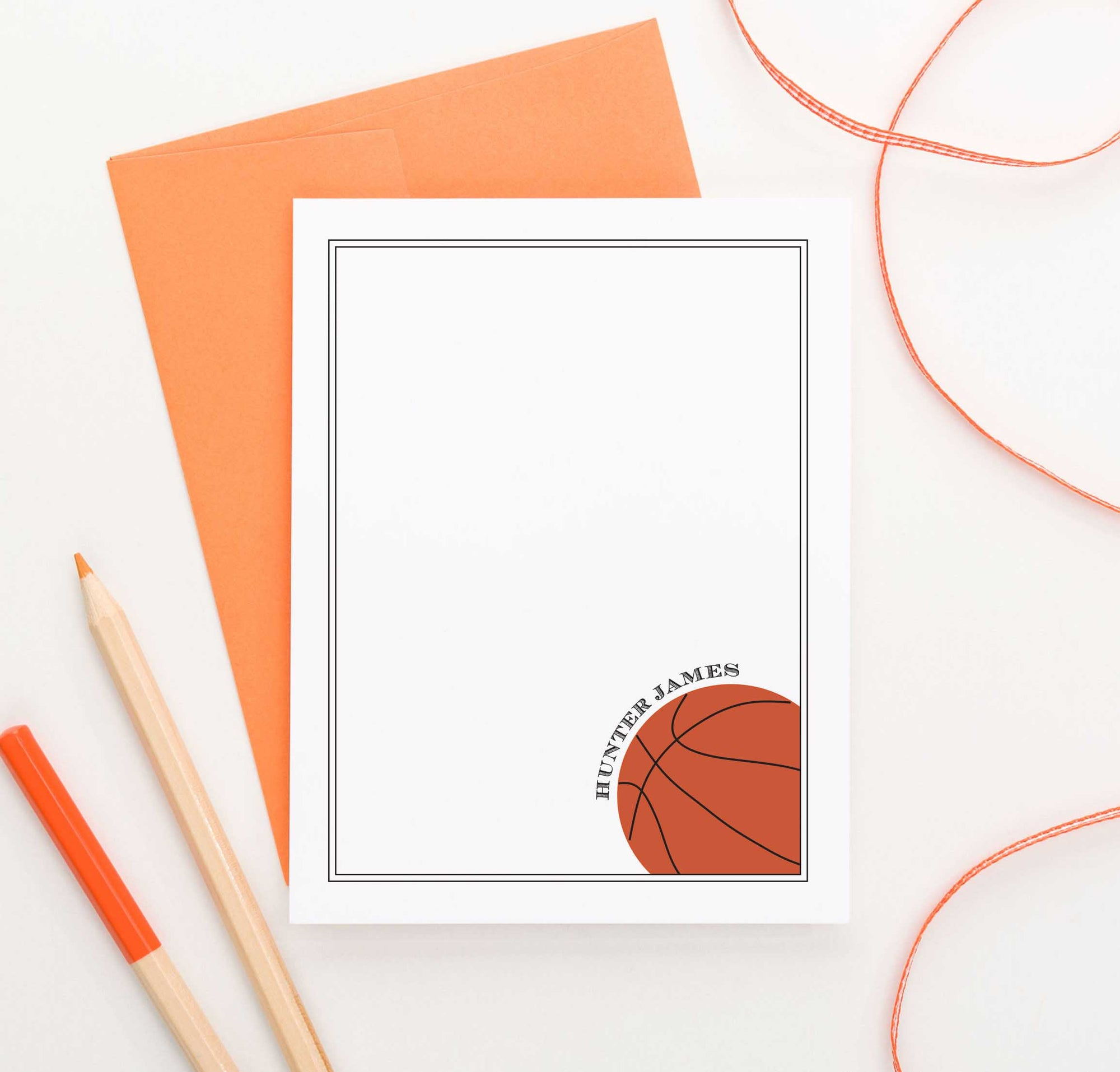 KS012 personalized basketball stationery for kids stationary sports sport sporty athletic 1