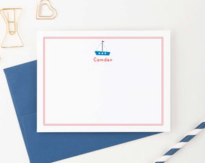 KS018 sailboat stationery personalized for kid boat ship border name 1