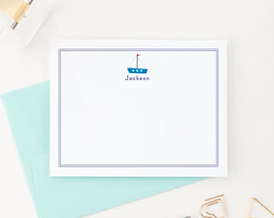 KS018 sailboat stationery personalized for kid boat ship border name