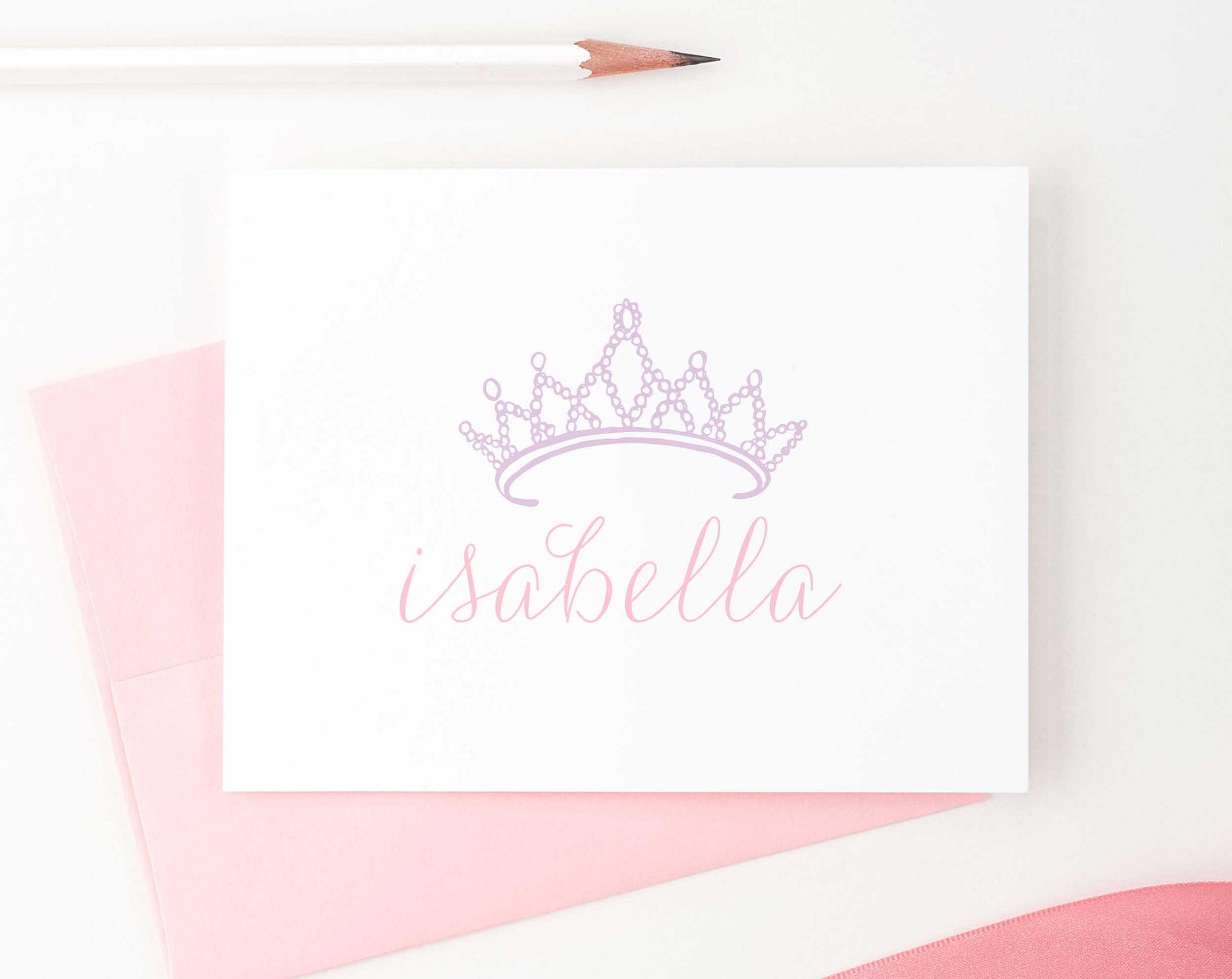 KS022 princess crown and name folded note cards for girls royal tiara queen 1