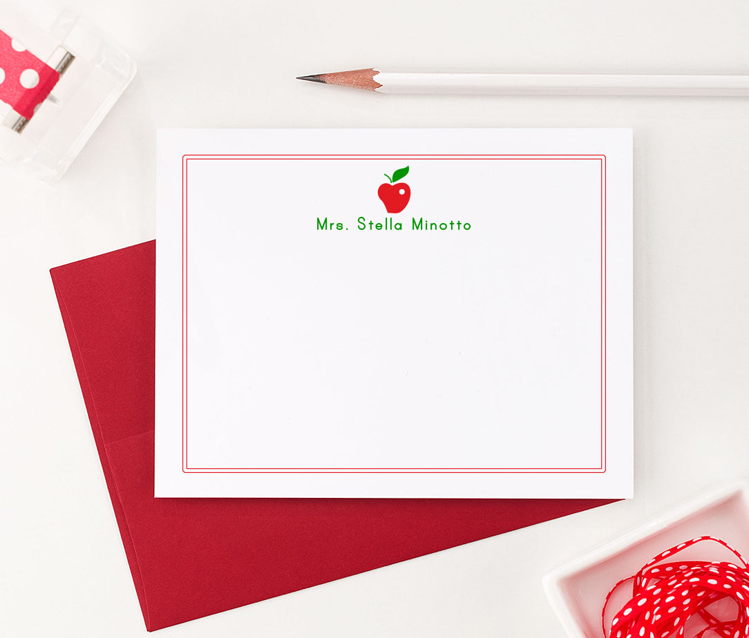 KS023 personalized apple thank you cards for teachers border flat stationery principal teacher