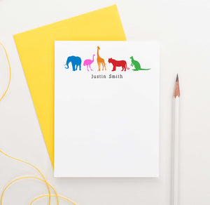 KS030 kids zoo animal note cardswith giraffe elphant ostrich  tiger and kangaroo personalized stationery 1