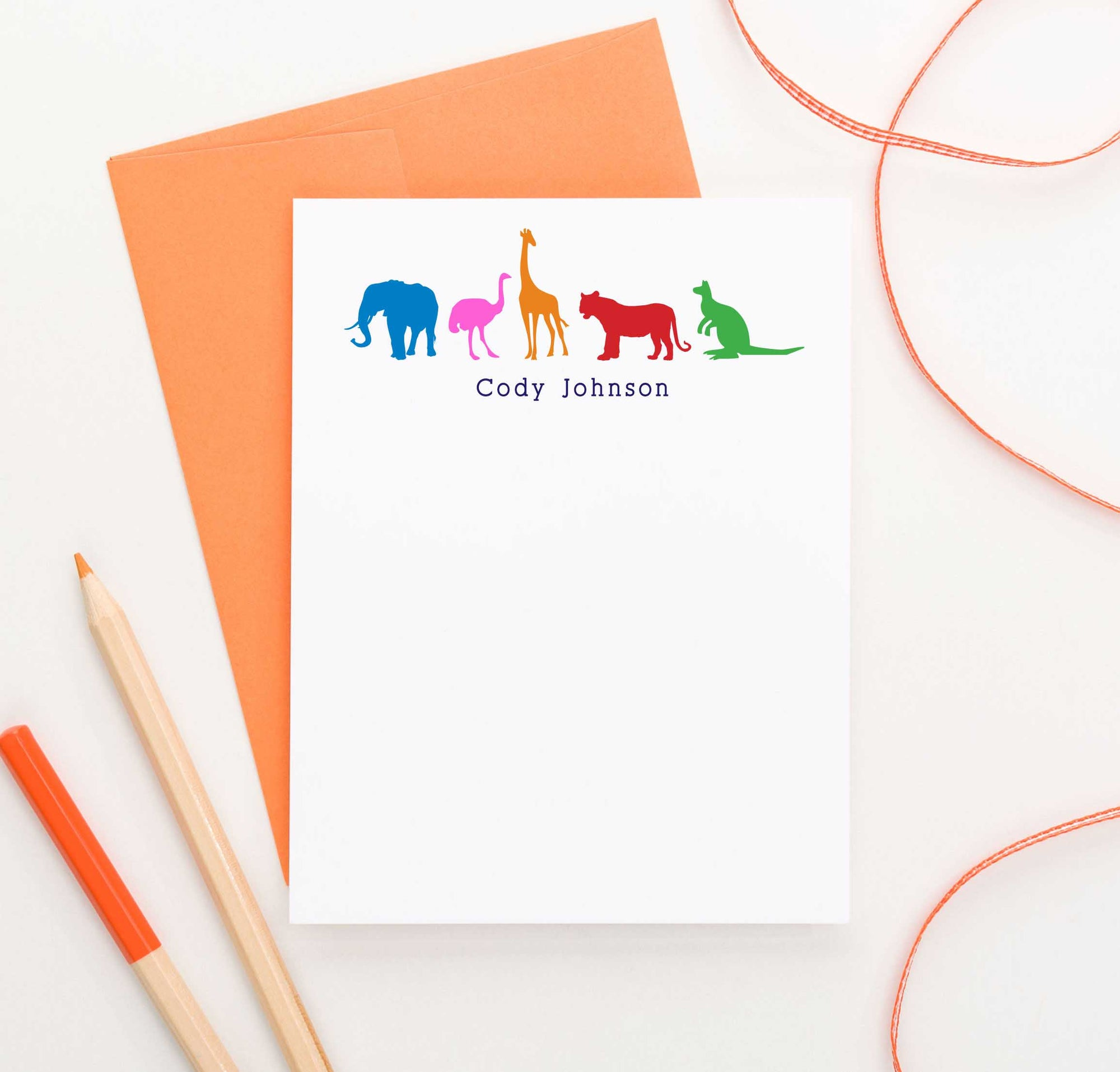 KS030 kids zoo animal note cardswith giraffe elphant ostrich  tiger and kangaroo personalized stationery
