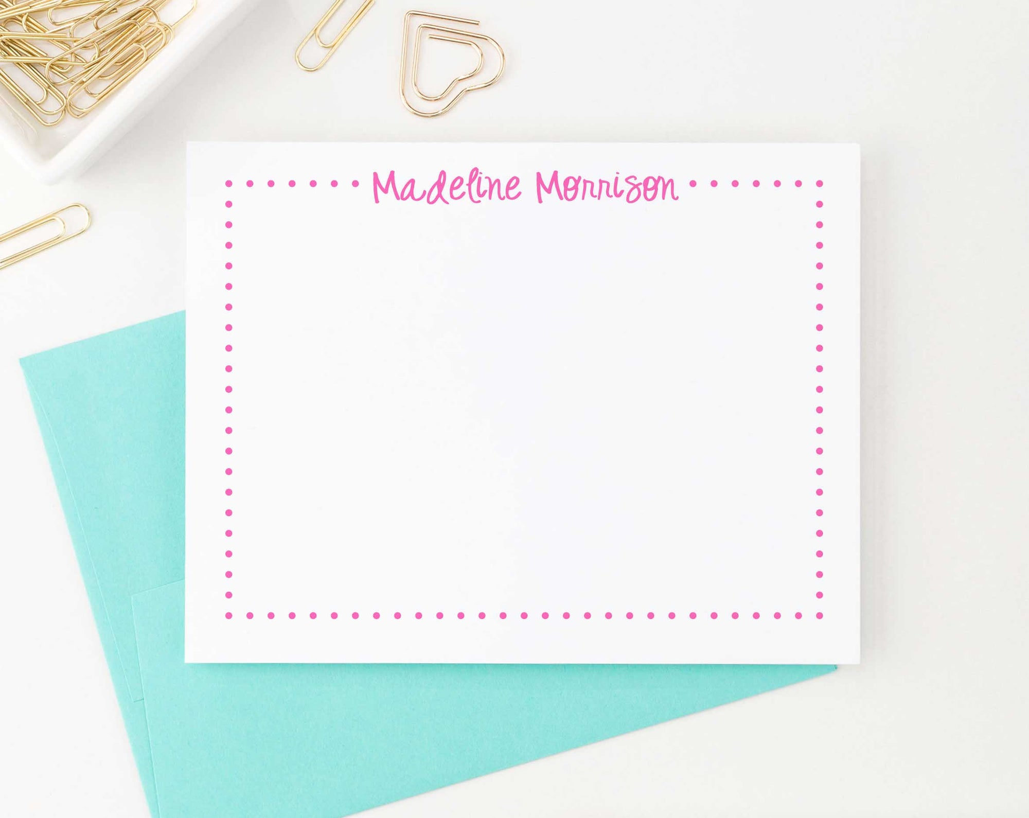 KS031 modern bordered thank you cards personalized for girls stationery flat polka dot border kids