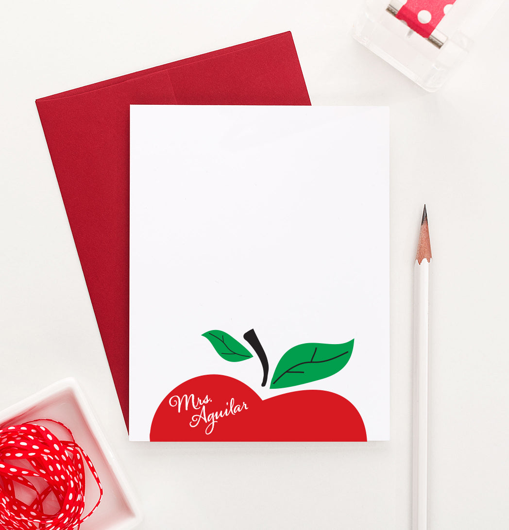 KS050 apple personal stationery gift for teacher personalized teachers principle