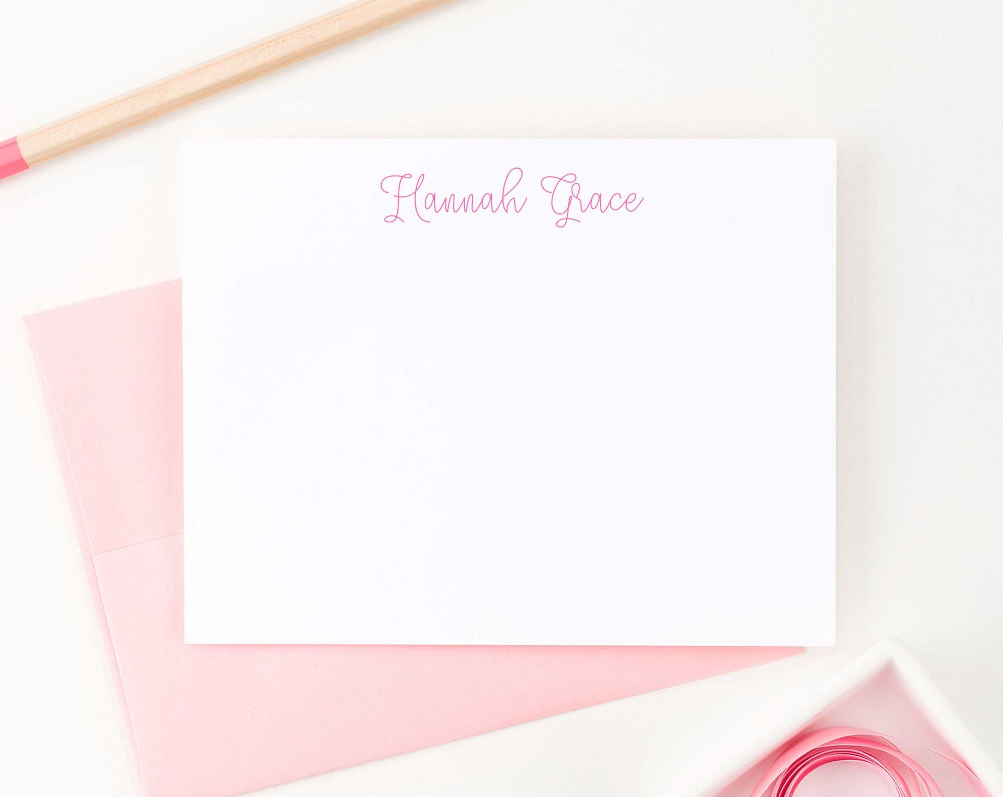 KS052 cute script font personalized notecards for girls boys kids heart 2