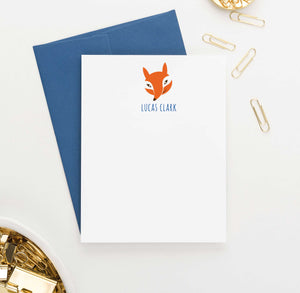 KS055 personalized fox stationery for kids animal forest orange cute 1