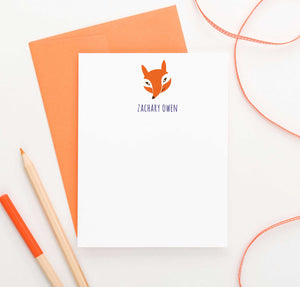 KS055 personalized fox stationery for kids animal forest orange cute