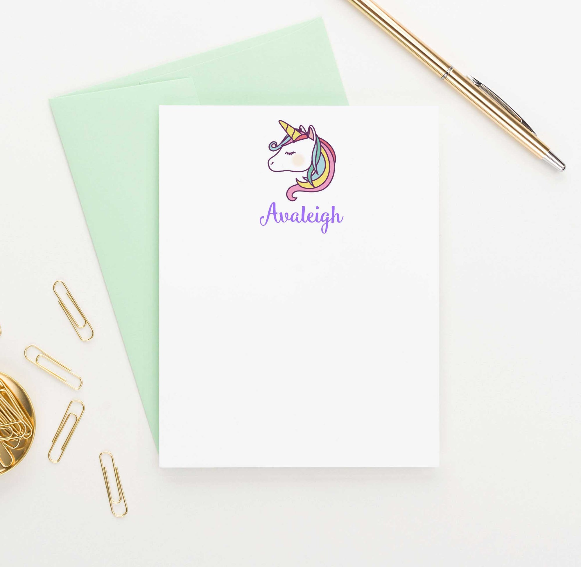 KS064 personalized unicorn kid stationery set girls boys note cards unicorns fairtale animal 1