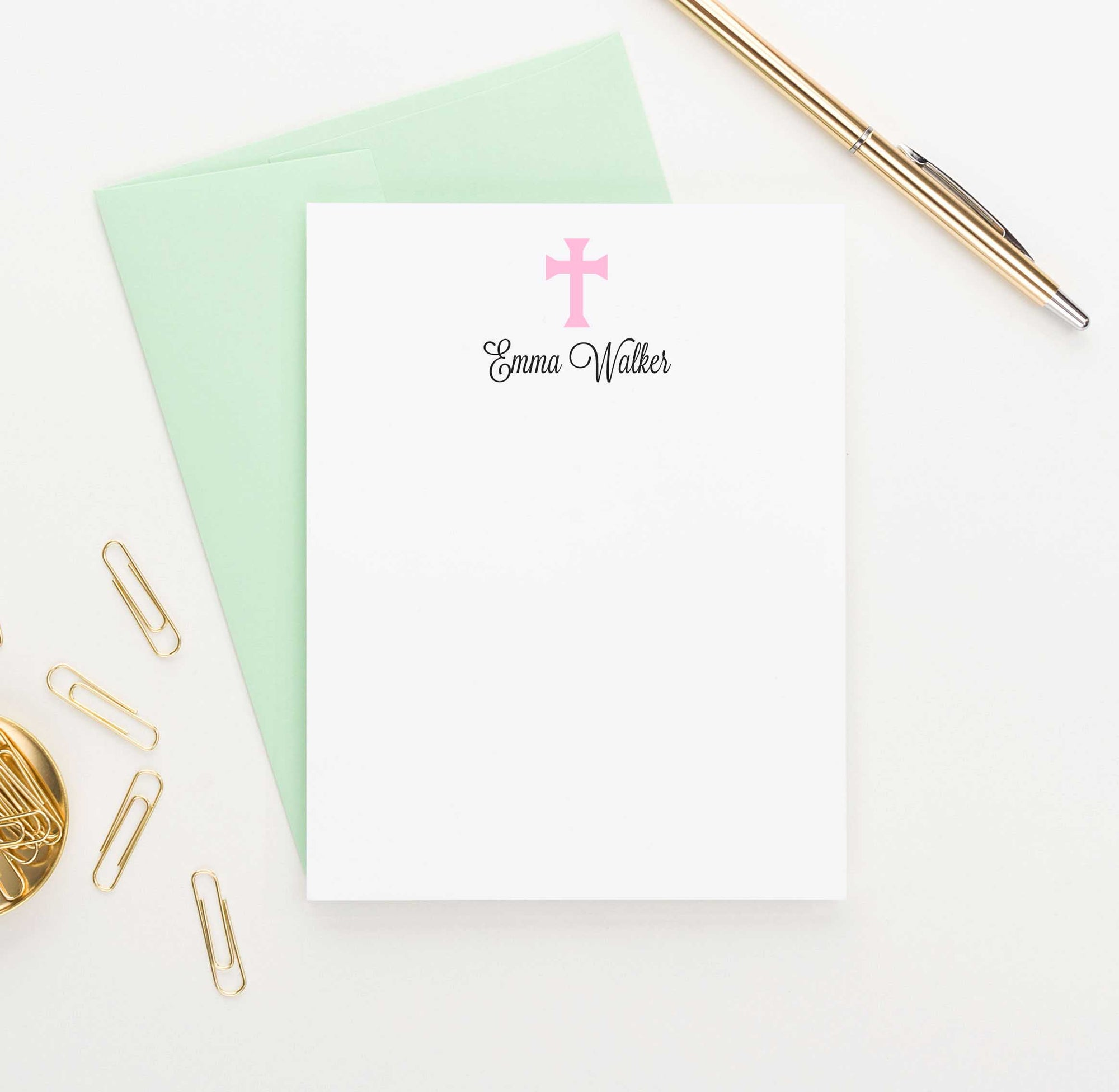 KS072 personalized pink cross stationery for kid girls stationary notecard simple 1