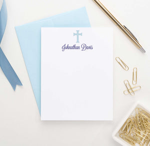 KS073 personalized blue cross stationery for kid boys girls simple stationary note card 1