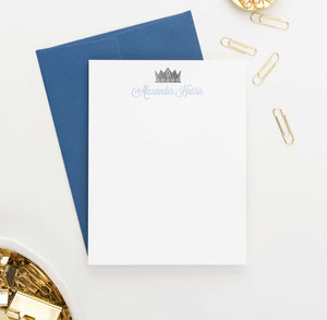 KS074 personalized prince crown stationary for boys kids king royal notecard