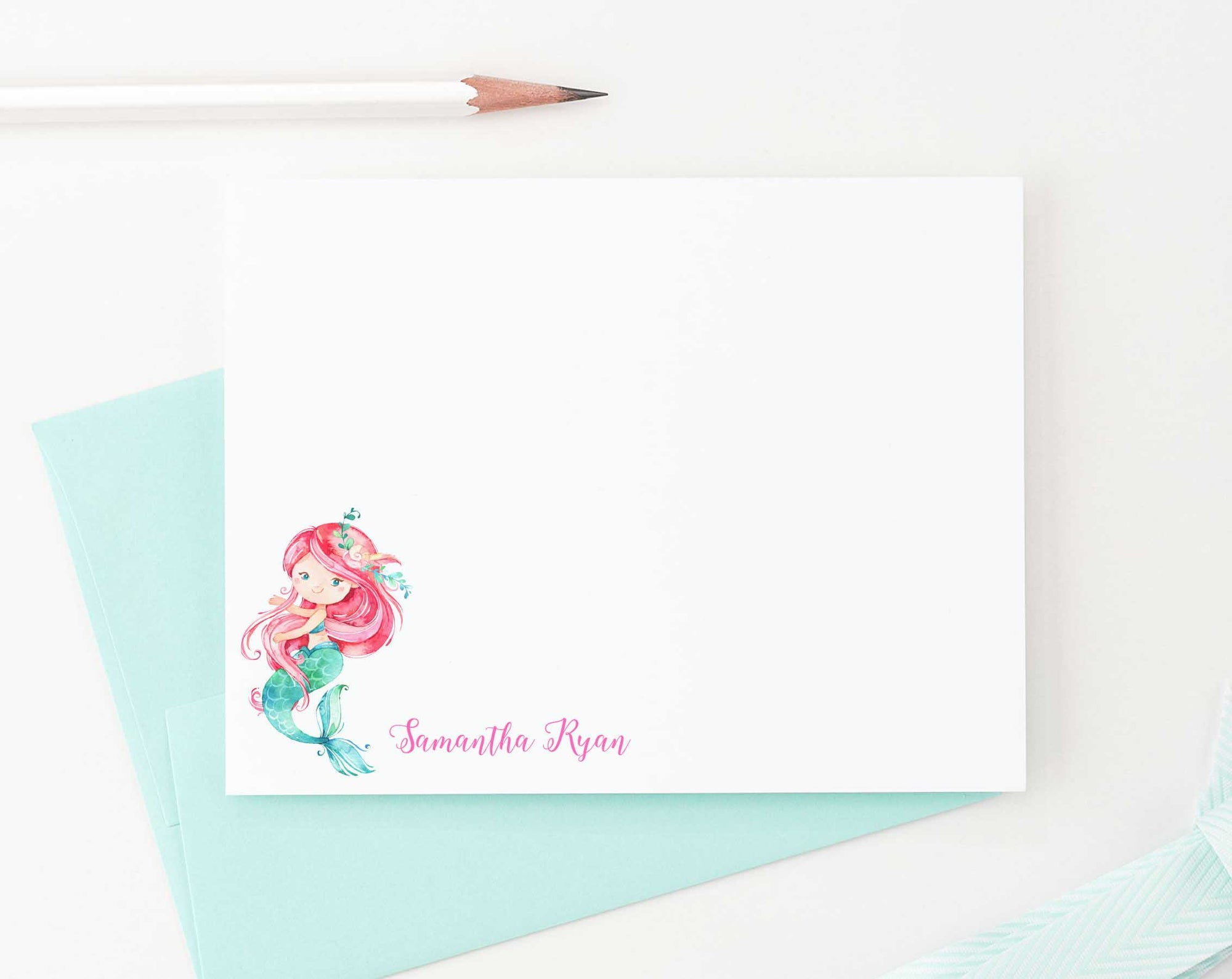 KS085 personalized mermaid stationery set for kids girls boys under the sea mermaids girl fun cute