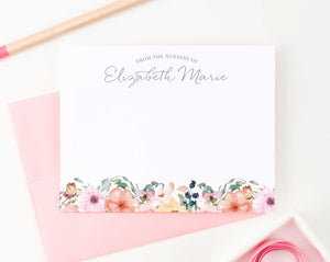 KS090 personalized from the nursey of baby girl stationery girls stationary floral florals flowers elegant