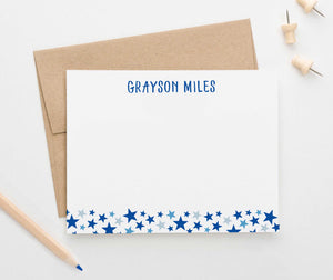 KS092 personalized stars stationery set for kids boys girls star cute fun bottom flat note card