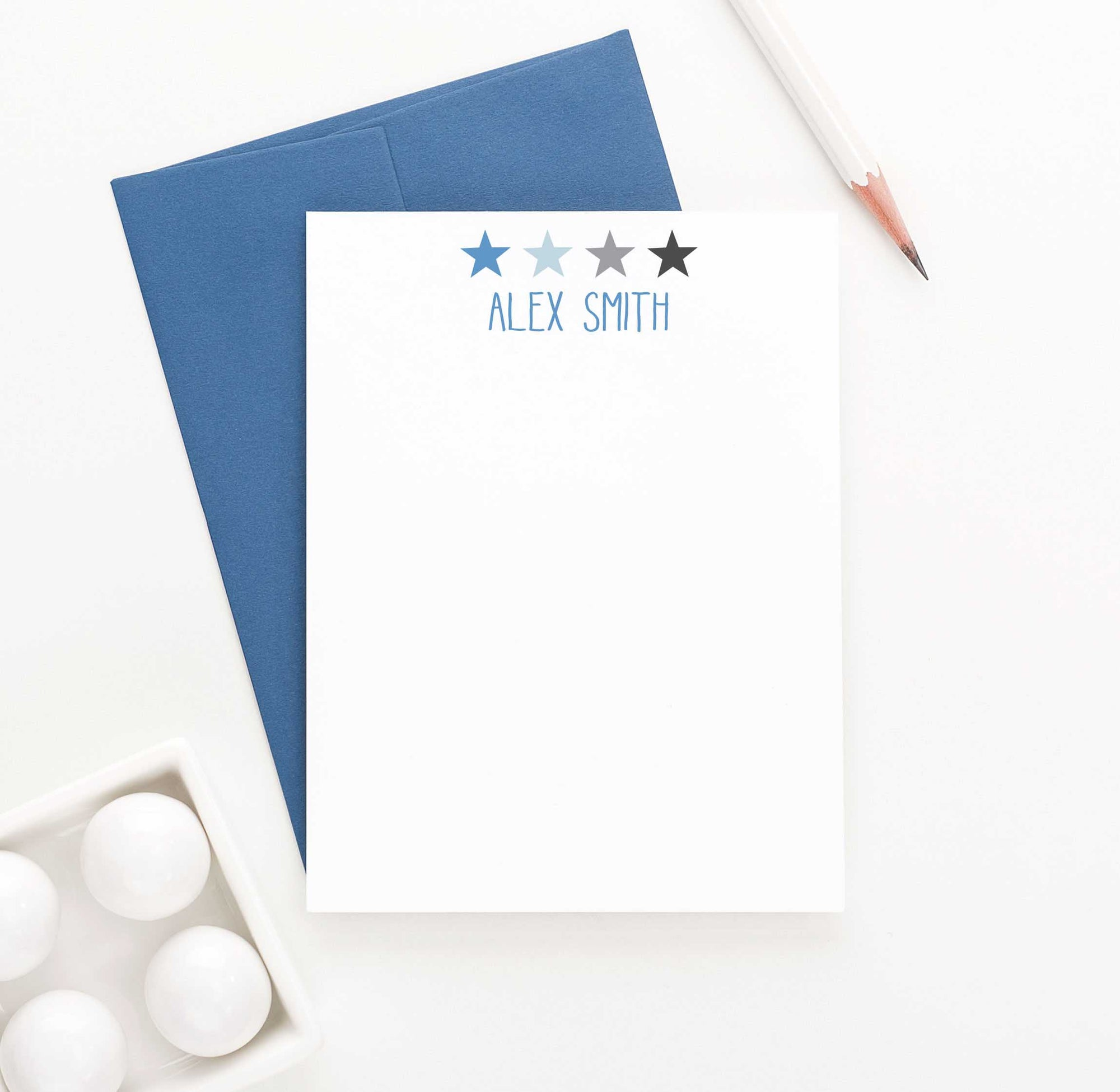 KS093A stars personal stationery set star boys girls kids block font simple cute stars 1
