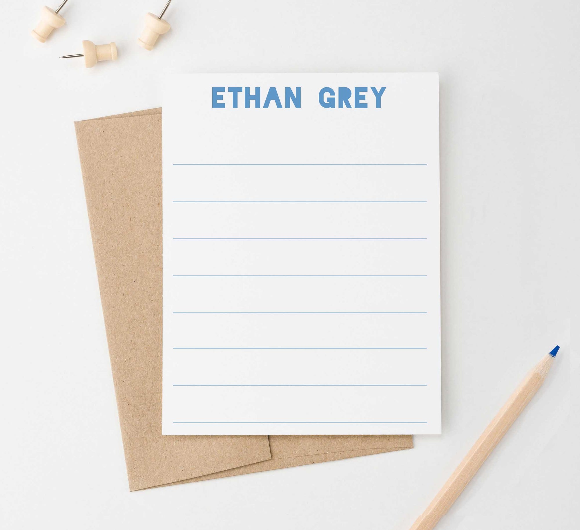 KS095 simple lined kid stationary personalized kids boys girlsflat note card lines line simple