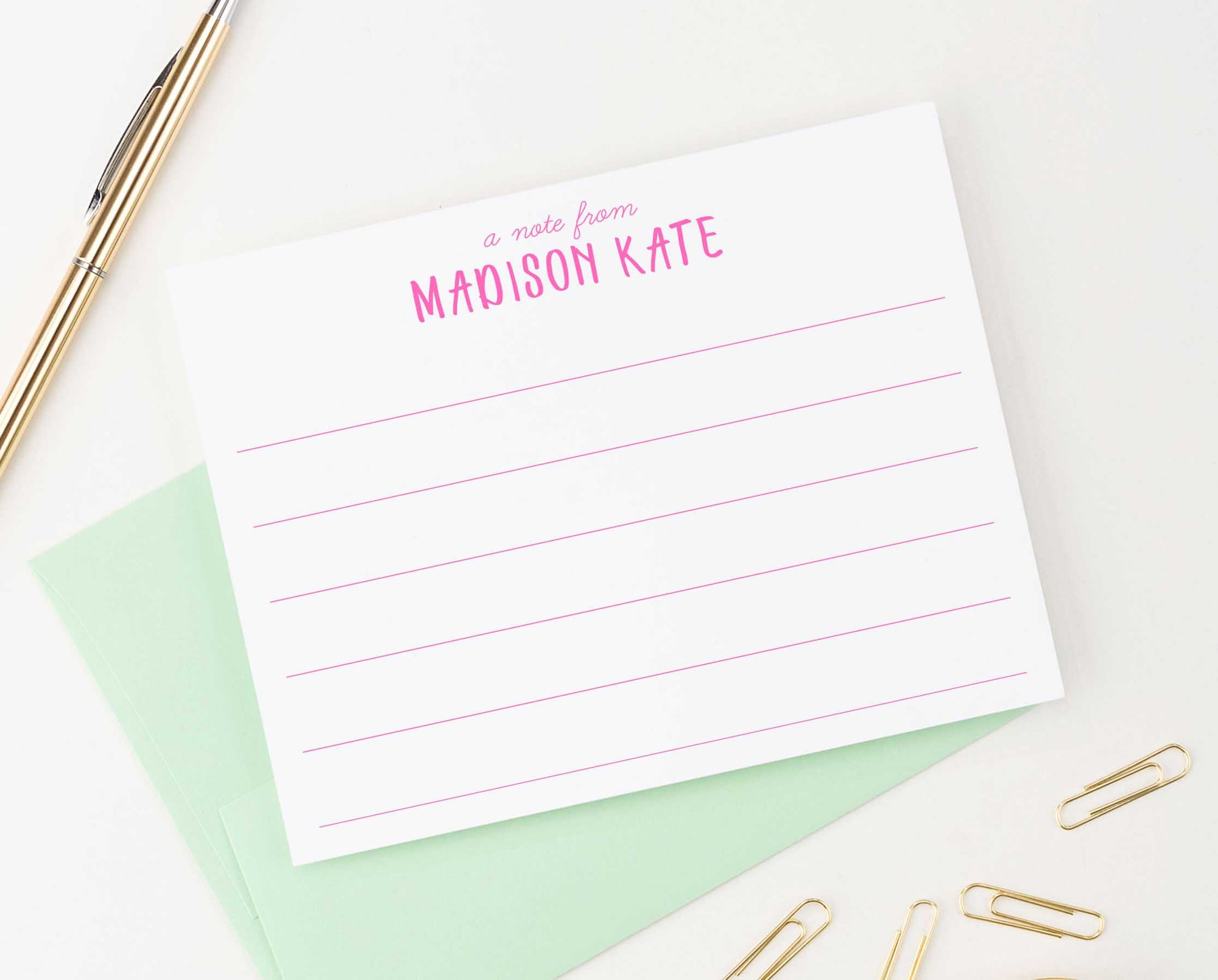 KS096 personalized a note from lined note cards for girls boys kids kid line lines simple stationery