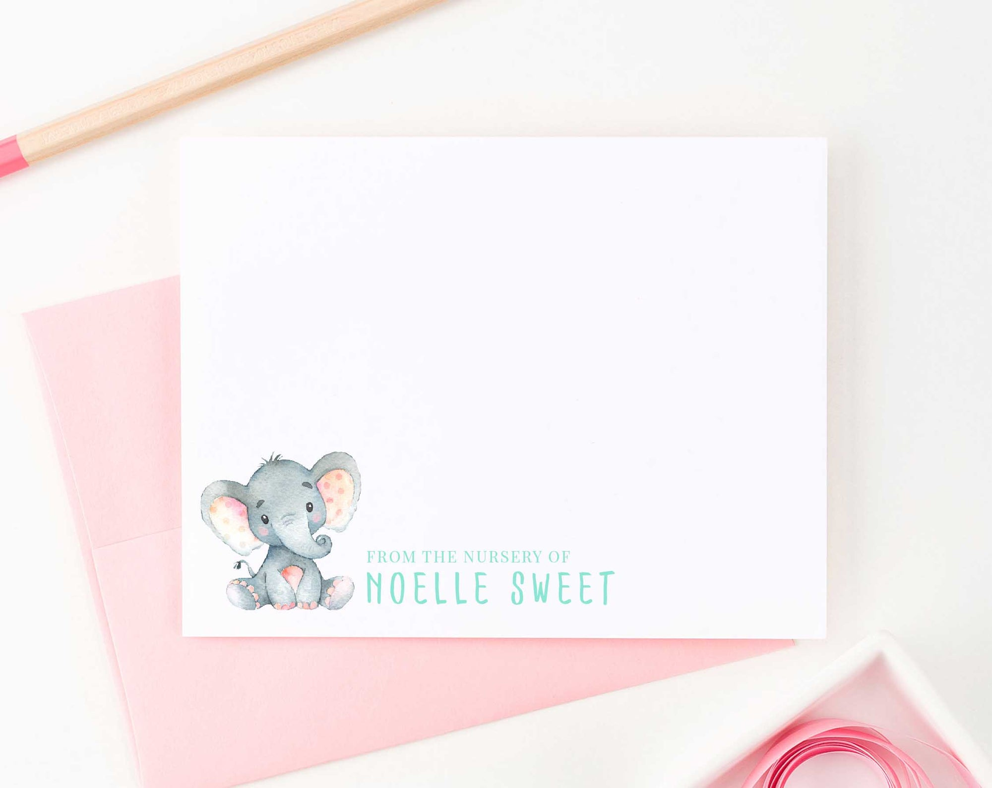 KS100 from the nursery of elephant personal stationery sets for girls and boys elephants kids baby