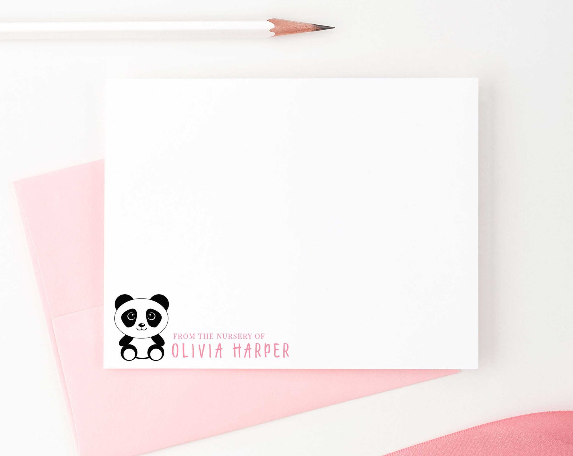 KS109 from the nursery of panda note cards personalized for girls and boys kids baby stationery notecard animal cute