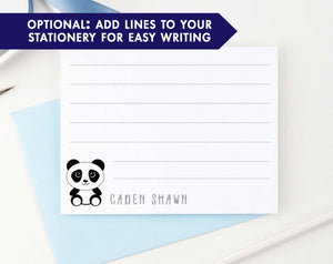 KS110 personalized panda stationery set for boys and girls kids pandas cute simple note cards animal lined
