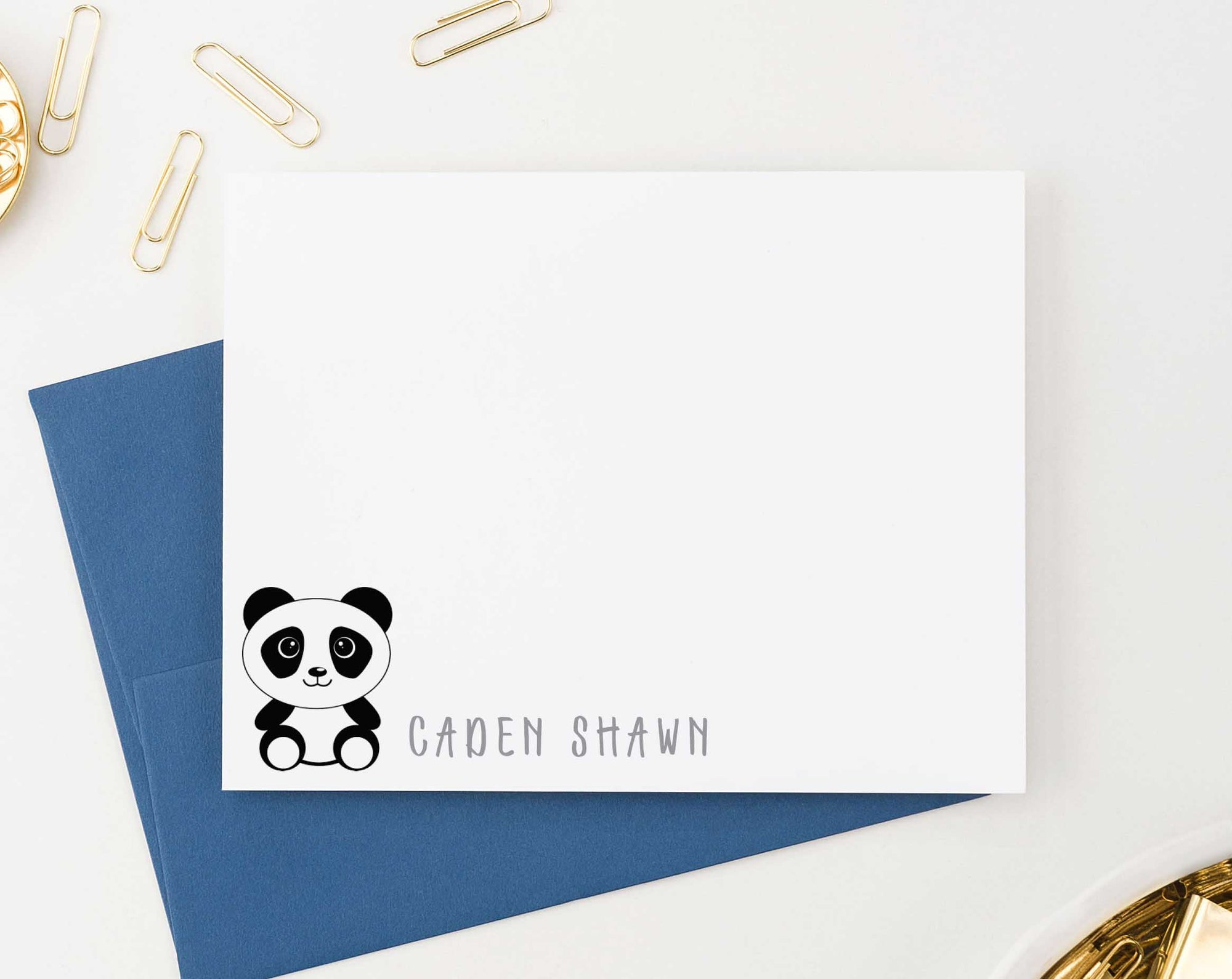 KS110 personalized panda stationery set for boys and girls kids pandas cute simple note cards animal 1