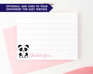 KS111 personalized cute panda stationery set for girls and boys kids notecard simple pandas animal lined