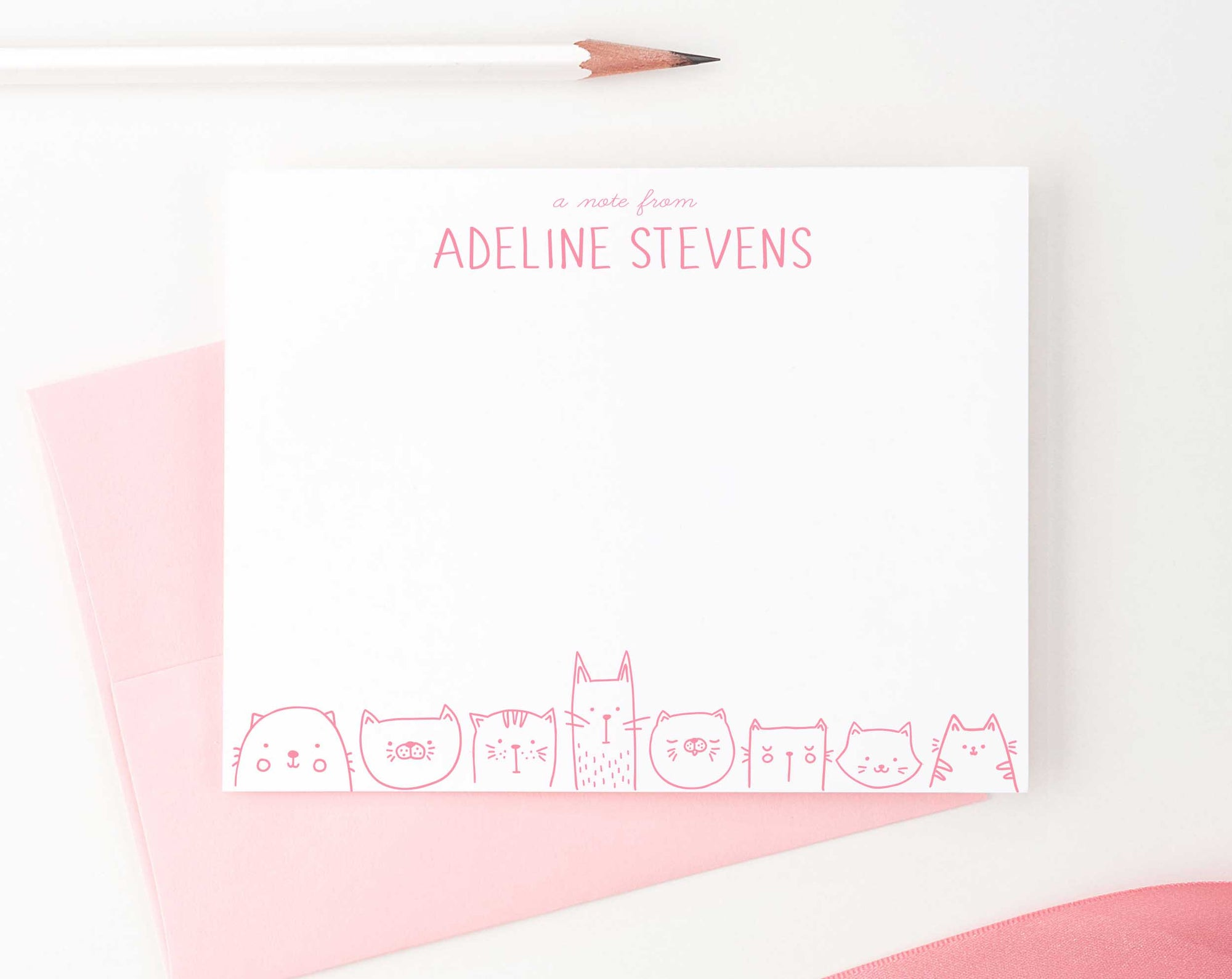 KS115B personalized a note from cats stationery set for girls and boys cat bottom line animal cute