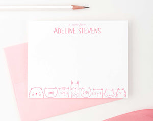 KS115B personalized a note from cats stationery set for girls and boys cat bottom line animal cute 2