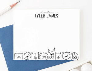 KS116 a note from dogs stationery set for boys and girls dog lined bottom personalized 2