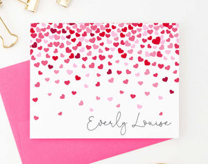 KS117 folded hearts stationery set personalized kids girls notecards heart pink and red 1