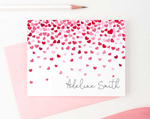 KS117 folded hearts stationery set personalized kids girls notecards heart pink and red 2