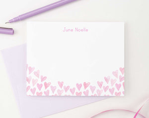 KS122 personalized pink watercolor hearts stationery sets heart elegant cute  fun 3