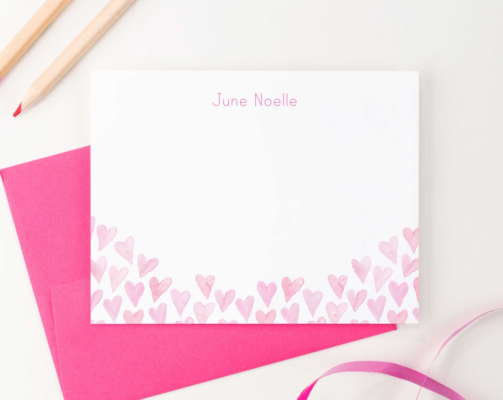 KS122 personalized pink watercolor hearts stationery sets heart elegant cute  fun