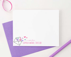 KS123 a note from note cards personalized with envelope and heart shear cute fun 1