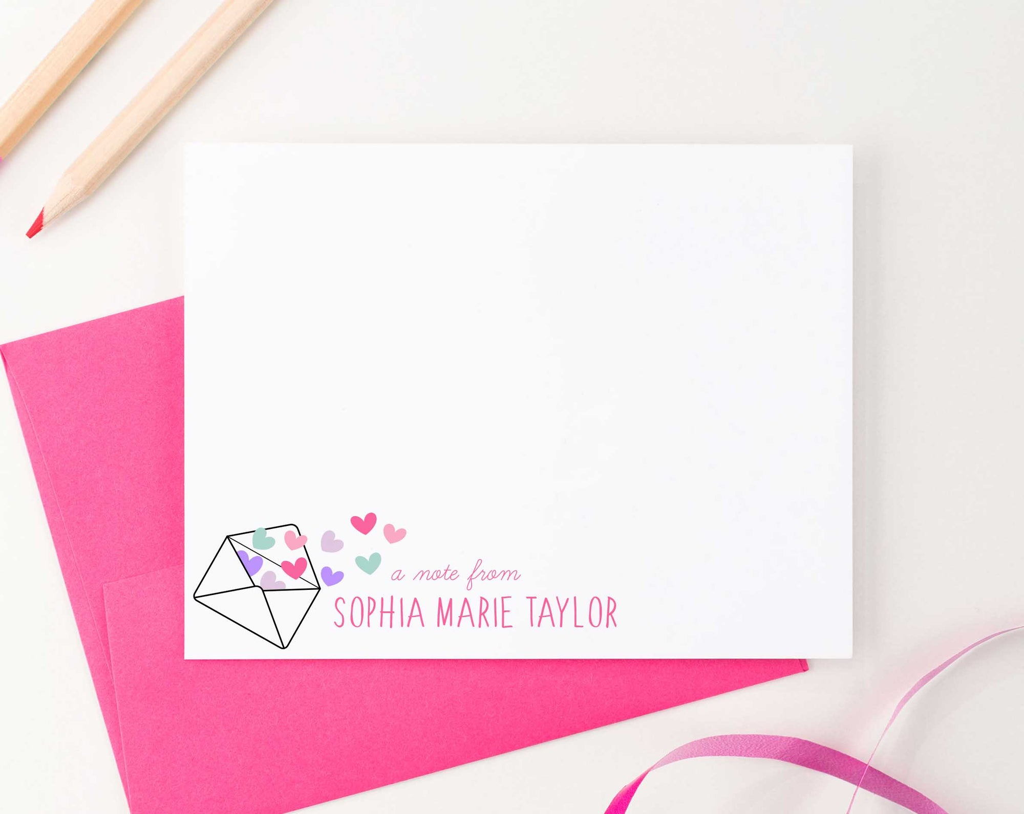 KS123 a note from note cards personalized with envelope and heart shear cute fun 4