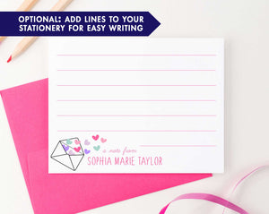 KS123 a note from note cards personalized with envelope and heart shear cute fun  lined