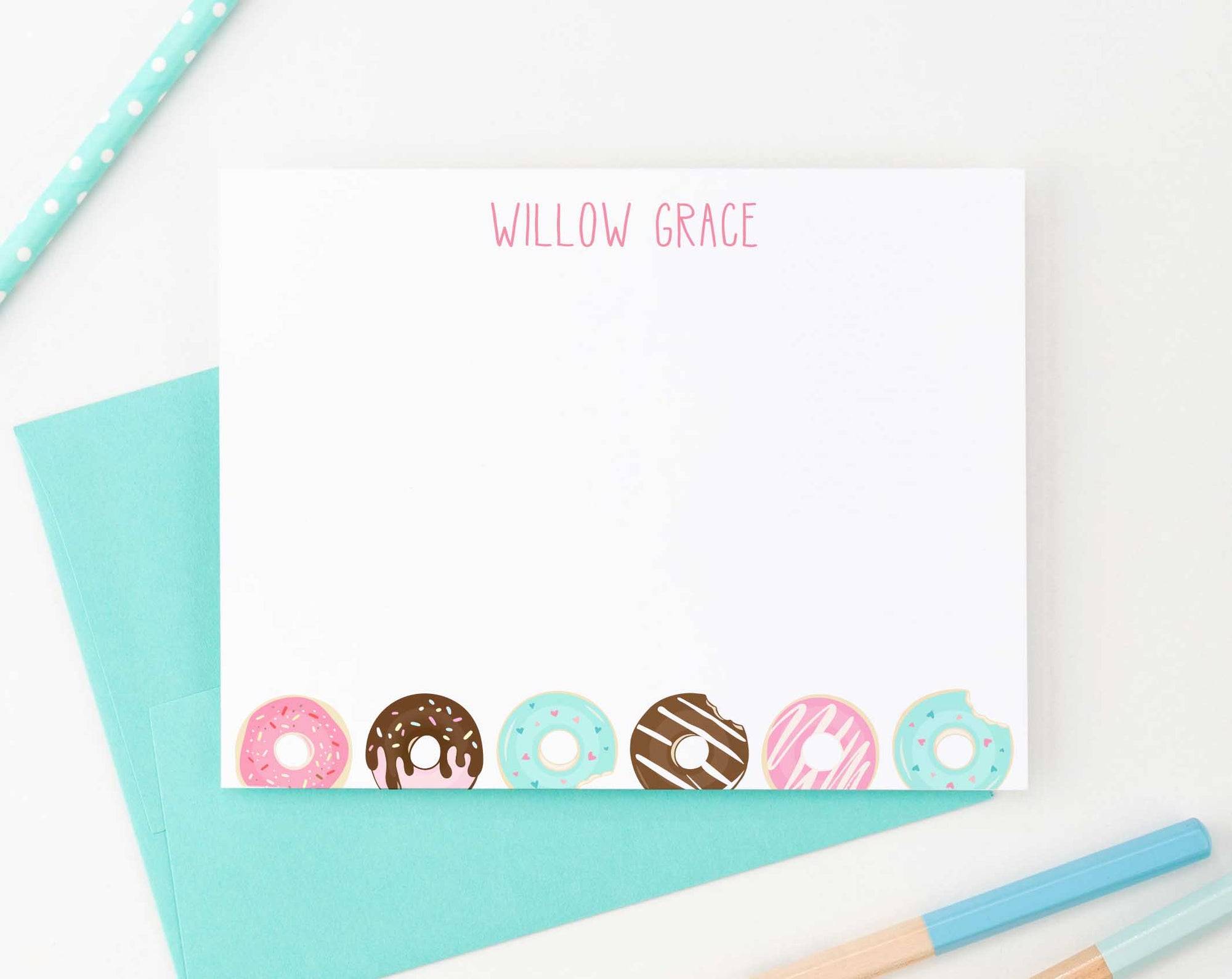KS124 personalized donuts stationery set for kids kid girls girl boy donut do nut cute fun simple